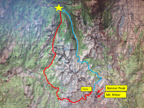 Star - Start at Tuolomne Red - 30 miles to Lake Catherine on HSR Yellow - Climb up Banner/Ritter Green - Return home on JMT 22 miles